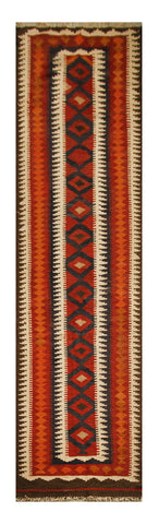 "23143 - Kelim Hand-Knotted/Handmade Afghan Rug/Carpet Tribal/Nomadic Authentic/Size 12'2"" x 2'6"""