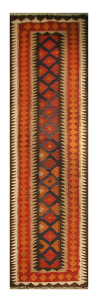 "23139 - Kelim Hand-Knotted/Handmade Afghan Rug/Carpet Tribal/Nomadic Authentic/Size 12'0"" x 2'6"""