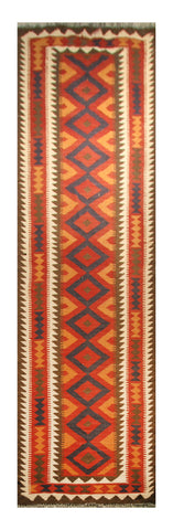 "23141 - Kelim Hand-Knotted/Handmade Afghan Rug/Carpet Tribal/Nomadic Authentic/Size 13'3"" x 2'9"""