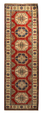 "22658 - Kazak Hand-Knotted/Handmade Afghan Tribal/Nomadic Authentic/Size 9'3"" x 2'8"""