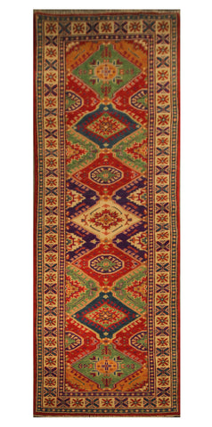 "22660 - Kazak Hand-Knotted/Handmade Afghan Tribal/Nomadic Authentic/Size 10'11"" x 2'7"""