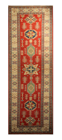 "22708 - Kazak Hand-Knotted/Handmade Afghan Tribal/Nomadic Authentic/Size 11'3"" x 2'9"""