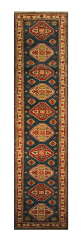 "22657 - Kazak Hand-Knotted/Handmade Afghan Tribal/Nomadic Authentic/Size 10'7"" x 2'1"""