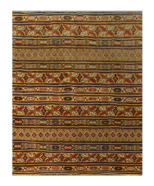 "22747 - Kazak Afghan Hand-knotted Contemporary/Modern Nomadic/Tribal Carpet/Rug/Size 6'3"" x 4'11"""