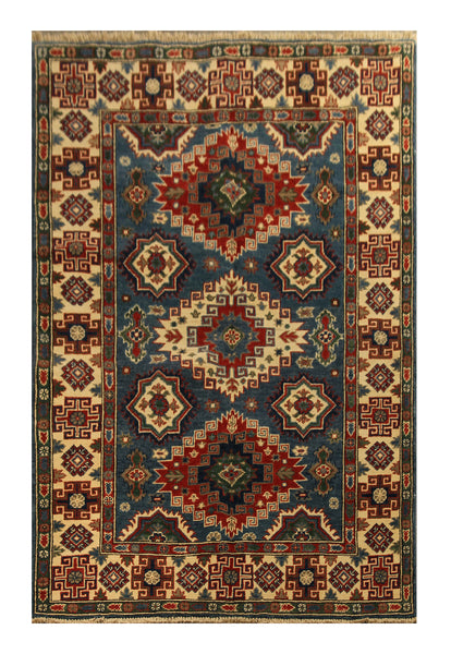 "22724 - Kazak Hand-Knotted/Handmade Afghan Tribal/Nomadic Authentic/Size 6'10"" x 3'10"""