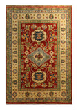 "22723 - Kazak Hand-Knotted/Handmade Afghan Tribal/Nomadic Authentic/Size 5'9"" x 4'0"""