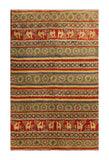 "22755 - Kazak Afghan Hand-knotted Contemporary/Modern Nomadic/Tribal Carpet/Rug/Size 5'8"" x 4'2"""