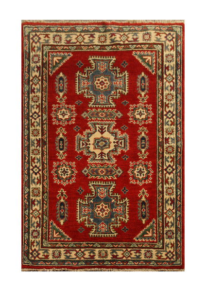 "22625 - Kazak Hand-Knotted/Handmade Afghan Tribal/Nomadic Authentic/Size 5'0"" x 3'2"""