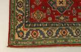 "22621 - Kazak Hand-Knotted/Handmade Afghan Tribal/Nomadic Authentic/Size 4'9"" x 3'3"""