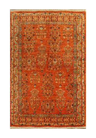 "22769 - Chobi Ziegler Afghan Hand-knotted Contemporary/Modern Carpet/Rug/Size 4'11"" x 3'5"""