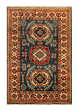 "22628 - Kazak Hand-Knotted/Handmade Afghan Tribal/Nomadic Authentic/Size 4'11"" x 3'4"""