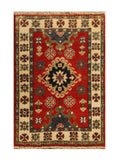 "22837 - Kazak Afghan Hand-knotted Contemporary/Modern Nomadic/Tribal Carpet/Rug/Size 2'10"" x 1'11"""
