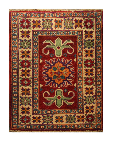 "22789 - Kazak Afghan Hand-knotted Contemporary/Modern Nomadic/Tribal Carpet/Rug/Size 3'1"" x 1'11"""
