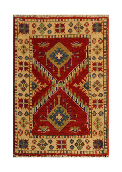 22791 - Kazak Afghan Hand-knotted Contemporary/Modern Nomadic/Tribal Carpet/Rug