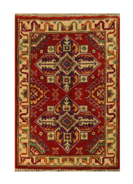 "22836 - Kazak Afghan Hand-knotted Contemporary/Modern Nomadic/Tribal Carpet/Rug/Size 3'0"" x 2'0"""