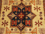 16296-Kazak Hand-Knotted/Handmade Afghan Rug/Carpet Tribal/Nomadic Authentic