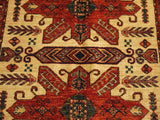 16301-Kazak Hand-Knotted/Handmade Afghan Rug/Carpet Tribal/Nomadic Authentic
