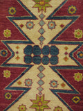 "17872-Kazak Hand-Knotted/Handmade Afghan Rug/Carpet Tribal/Nomadic Authentic4'11"" x 3'2"""