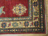 17864-Kazak Hand-Knotted/Handmade Afghan Rug/Carpet Tribal/Nomadic Authentic