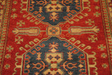 17897-Kazak Hand-Knotted/Handmade Afghan Rug/Carpet Tribal/Nomadic Authentic