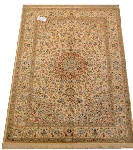 "15047 - Qom Persian Hand-Knotted Authentic/Traditional Carpet/Rug Silk-made Signed-piece 6'7"" x 4'7"""