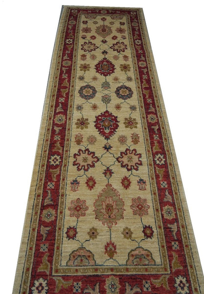 19347-Chobi Ziegler Handmade/Hand-knotted Afghan Rug/Carpet Tribal/Nomadic Authentic