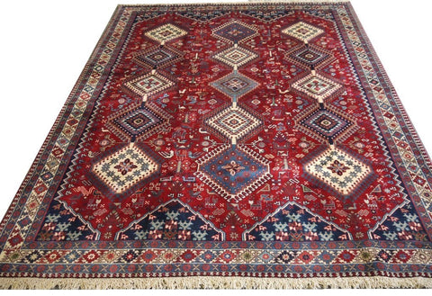 "20581-Yalameh Hand-Knotted/Handmade Persian Rug/Carpet Tribal/Nomadic Authentic 8'1"" x 6'7"""