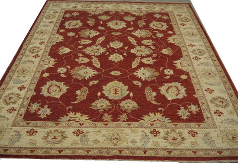 19224-Chobi Ziegler Hand-Knotted/Handmade Afghan Rug/Carpet Traditional Authentic 7'11''x 6'7''