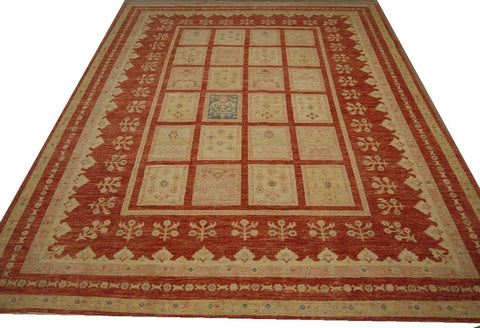 19111-Chobi Ziegler Hand-Knotted/Handmade Afghan Rug/Carpet Tribal/Nomadic Authentic 9'3''x 6'11""