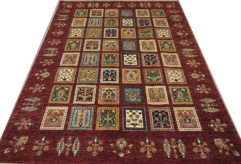 "19120-Chobi Ziegler Hand-Knotted/Handmade Afghan Rug/Carpet Tribal/Nomadic Authentic 8'1"" x 5'5"""