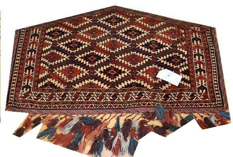 "14651 - Turkoman Russian Hand-knotted Antique Tekke-design Authentic/Traditional Nomadic/Tribal Carpet/Rug  3'10"" x 2'4"""