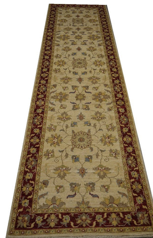 "19331-Chobi Ziegler Handmade/Hand-knotted Afghan Rug/Carpet Tribal/Nomadic Authentic 10'1"" x 2'8"""