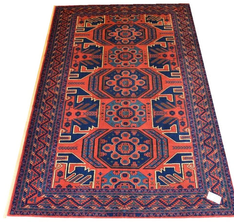 14687- Khal Mohammad Afghan Hand-Knotted Authentic/Traditional Nomadic/Tribal Carpet/Rug