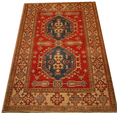 17897 - Kazak Hand-Knotted/Handmade Afghan Rug/Carpet Tribal/Nomadic Authentic