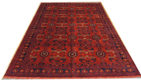 "18144-Khal Mohammad Hand-Knotted/Handmade Afghan Rug/Carpet Tribal/Nomadic Authentic 9'7"" x 6'5"""
