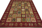 "19121-Chobi Ziegler Hand-Knotted/Handmade Afghan Rug/Carpet Tribal/Nomadic Authentic 8'0"" x 5'7"""