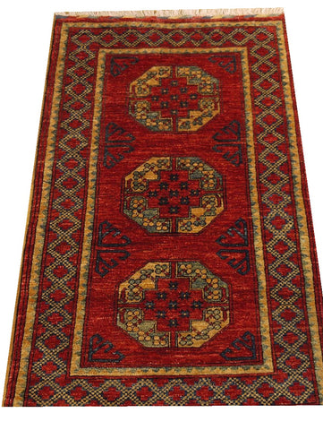 "16068-Khal Mohammad Hand-Knotted/Handmade Afghan Rug/Carpet Tribal/Nomadic Authentic 5'1"" x 2'11"""