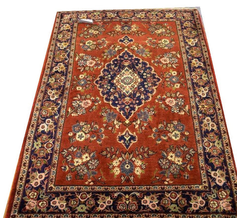 13307 - Qom Persian Hand-knotted Authentic/Traditional Carpet/Rug