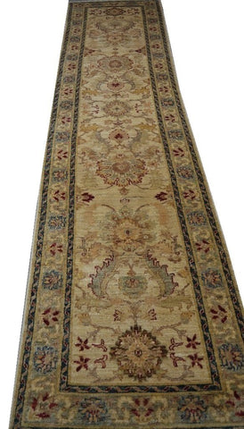 "19350-Chobi Ziegler Handmade/Hand-knotted Afghan Rug/Carpet Tribal/Nomadic Authentic10'9"" x 2'8"""