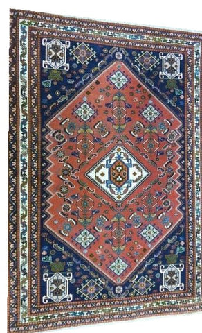 "15066 - Abadeh Persian Hand-Knotted Authentic/Traditional Nomadic/Tribal Carpet/Rug 4'10""x3'6"""