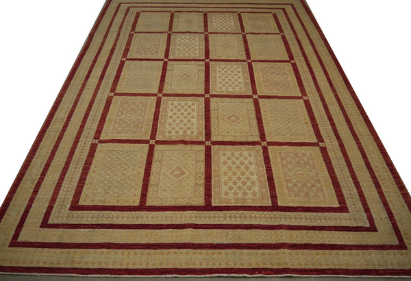 19112-Chobi Ziegler Hand-Knotted/Handmade Afghan Rug/Carpet Tribal/Nomadic Authentic 9'5''x 6'8''