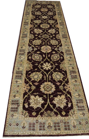 "19332-Chobi Ziegler Handmade/Hand-knotted Afghan Rug/Carpet Tribal/Nomadic Authentic 9'7"" x 2'9"""