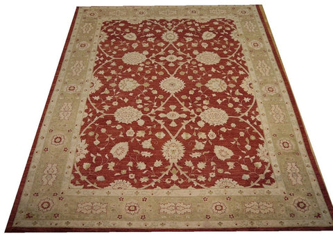 "18066-Chobi Ziegler Hand-Knotted/Handmade Afghan Rug/Carpet Tribal/Nomadic Authentic 11'8"" x 9'1"""