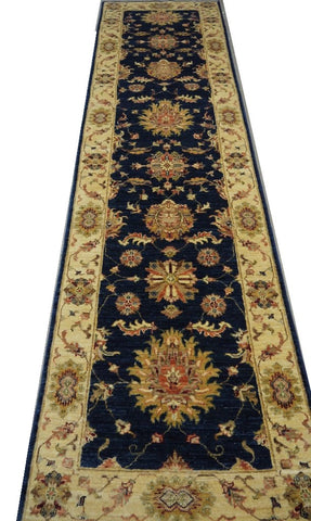 "19280-Chobi Ziegler Hand-Knotted/Handmade Afghan Rug/Carpet Tribal/Nomadic Authentic 9'8"" x 2'5"""