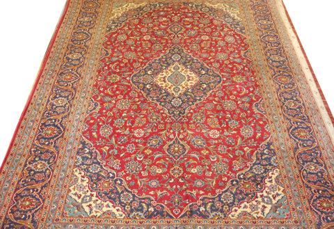 19445 Kashan Hand-Knotted/Handmade Persian Rug/Carpet Traditional Authentic