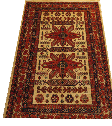 "16301-Kazak Hand-Knotted/Handmade Afghan Rug/Carpet Tribal/Nomadic Authentic 6'1"" x 4'2"""