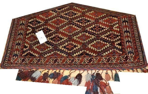 "14650 - Turkoman Russian Hand-knotted Antique Tekke-design Authentic/Traditional Nomadic/Tribal Carpet/Rug 4'0"" x 2'3"""