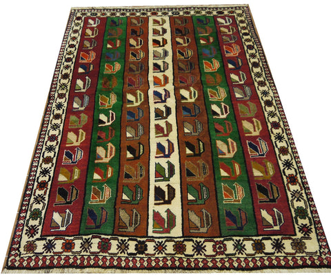 18266-Shiraz Hand-Knotted/Handmade Persian Rug/Carpet Tribal/Nomadic Authentic