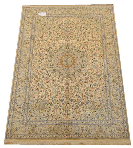 "11813 - Qom Persian Hand-knotted Authentic/Traditional Carpet/Rug Silk-made Signed-piece 6'8"" x 4'7"""