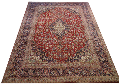 "16612-Kashan Hand-Knotted/Handmade Persian Rug/Carpet Traditional Authentic 14'0"" x 10'1"""